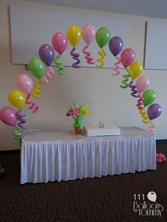 - Enter into Candyland through this lollipop and candy-covered arch! Balloons by Tommy - Photo Gallery - Arches Birthday Balloon Decorations, Birthday Balloons, Baby Shower Decorations, Birthday Parties, Balloon Flowers, Balloon Bouquet, Balloon Columns, Balloon Arch, Ballon Arrangement