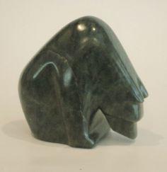 The Listening Bear from Brazilian soapstone. Original work of ALLAN  WAIDMAN Soapstone, Stone Carving, Vase, Bear, Sculpture, The Originals, Home Decor, Stone Sculpture, Homemade Home Decor