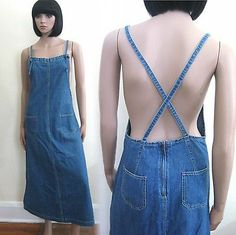 vtg 90s grunge denim overalls jumper long dress S pinafore criss cross back