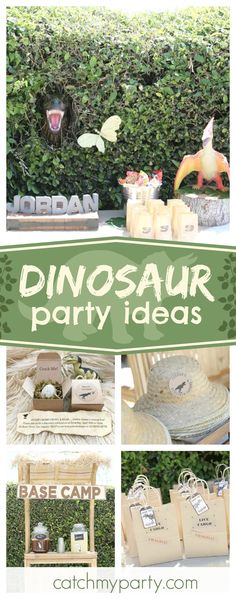 Check out this awesome Dinosaur birthday party. The backdrop with the T-Rex popping out is so cool!! See more party ideas and share yours at CatchMyParty.com