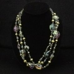 Green, purple and gold crystal and pearl necklace- $90 Southern Belle, Classy Women, Wardrobe Staples, Pearl Necklace, Gems, Pearls, Crystals, Purple, Jewelry