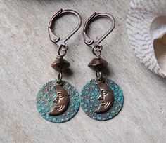 Crescent Moon Earrings   Stars Sky brass teal by LaughingDogStudio, $21.00