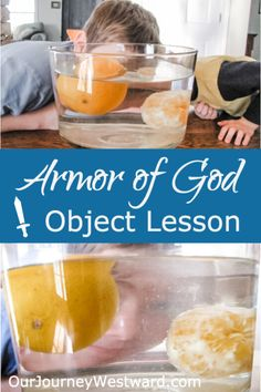 This Armor of God object lesson using oranges and water is so simple, yet very effective at helping children understand its importance. Kids Church Lessons, Bible Lessons For Kids, Children Sunday School Lessons, Youth Lessons, Church Activities, Bible Activities, Activities For Children, Learning Activities, Armor Of God Lesson