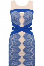 Cream knee length dress with cut out neck and blue lace detail in sizes 8-14   £35