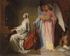 Glücklich, Simon, (1863-1943), Cecilia accompanied by Angels, 1886, Oil