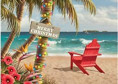 Send your warmest wishes with Brighten the Season holiday greeting cards. Cover design features a tropical beach scene. Message: Hope your holidays are a little bit of paradise. Contains 16 cards and 16 envelopes.