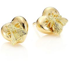 Gucci 18K Yellow Gold Bee Heart Stud Earrings (€1.340) ❤ liked on Polyvore featuring jewelry, earrings, apparel & accessories, gold, heart shaped earrings, stud earring set, post earrings, 18 karat gold earrings and gold bee earrings