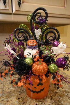 Centro de mesa para fiesta de halloween. #DecoracionHalloween