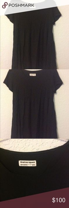 AA Babydoll Dress Solid black babydoll dress from American Apparel, a size XS/S. Authentic, purchased in store before it closed. It is in good condition.  ✓ NO Trades / Merc / PP / etc. American Apparel Dresses