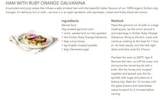 Ham with Ruby Orange Galvanina #Galvanina #drink #recipe