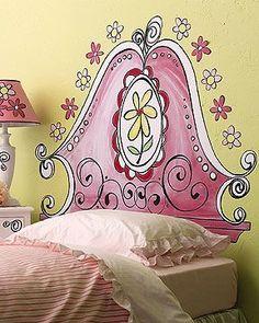 Whimsical headboard painted right on the wall. iamtheprincess.com