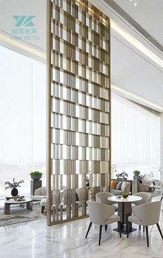 Lobby Interior, Interior Design Living Room, Modern Interior, Interior Architecture, Room Deviders, Hotel Lobby Design, Stainless Steel Screen, Room Partition Designs, Wall Design