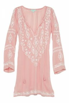 sparkle embroidered peach caftan