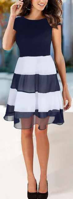 Navy & White Stripe Dress. Love the stripes on bottom with solid on top!
