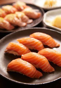 Oh I would gobble this all up. Salmon Nigiri Sushi