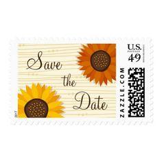 Sunflower wedding Save the date postage stamp