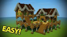 Haus Ideen Minecraft: Starter Base Tutorial - Picket Minecraft Home - St. Minecraft Wooden House, Minecraft Starter House, Big Minecraft Houses, Casa Medieval Minecraft, Minecraft Building Guide, Minecraft Houses Survival, Minecraft House Tutorials, Minecraft Houses Blueprints, Minecraft Plans
