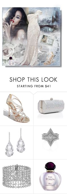 """""""Don't say a thing..."""" by nannerl27forever ❤ liked on Polyvore featuring Badgley Mischka, J. Furmani, Plukka, Meadowlark, Henri Bendel, Christian Dior and Elie Saab"""