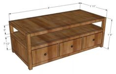 I want to make this!  DIY Furniture Plan from Ana-White.com  This is a the coffee table that matches the Rhyan series of plans. It is based on Pottery Barn's Rhys Coffee table and features and open shelf and six drawers. Head on over to More Like Home for the plans! http://morelikehome.blogspot.com/2012/02/rhyan-coffee-table.html