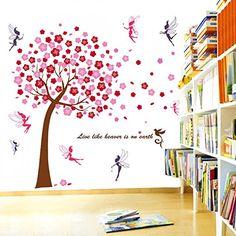 wandaufkleber rosa baum mauerdekor kinder wandsticker aufkleber dekoration baum fee kinderzimmer schlafzimmer baby kids - Dekoration Baum