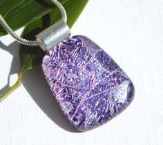 Mauve Dichroic Glass Pendant - Fused Glass Jewelry - Purple Glass Necklace by TremoughGlass on Etsy