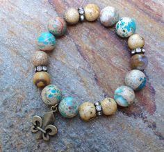 Boho Stretch Gemstone Fleur Di Lis Bracelet by GlitterFusion