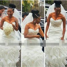 2016 Sexy Cascading Ruffles Mermaid Wedding Dress For Women Plus Size Beaded Waist White Organza Long Bidal Dresses Gown Court Train