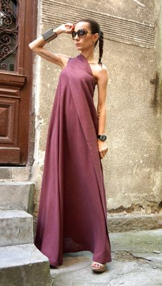 XXL,XXXL Maxi Dress / Burgundy Kaftan Linen Dress / One Shoulder Dress / Extravagant Long Dress / Party Dress by AAKASHA A03144