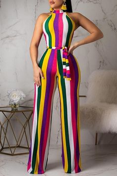 Women New Stylish Roaso Casual Striped Jumpsuit (Batch Print) Multi Lace Jumpsuit, Striped Jumpsuit, Trendy Outfits, Cute Outfits, Fashion Outfits, Fashion Colours, Colorful Fashion, African Fashion Dresses, Classy Dress