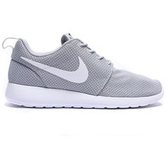 Roshe Run Trainer ($105) ❤ liked on Polyvore featuring shoes, nike, gray shoes, rubber shoes, grey shoes, white shoes and waffle shoes