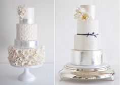 silver anniversary cake ideas with cake by Coco Cakes left and by Faye Cahill Cake Design right