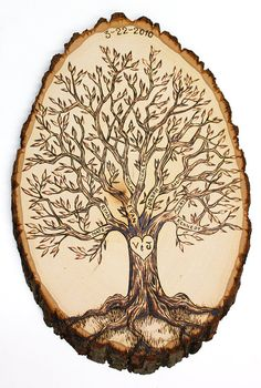 Personalized Family Tree wood burned tree slice. This would be cool to do with our wood slice from our wedding.