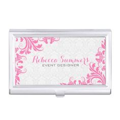 Elegant Pink Lace White Damasks Case For Business Cards - floral style flower flowers stylish diy personalize