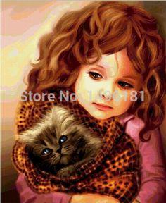 Gato e menina ponto cruz bordados diy pintura diamante quadrado diamante bordado decoração 5D frete grátis