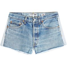 RE/DONE Cut-Off Denim Shorts (€250) ❤ liked on Polyvore featuring shorts, bottoms, denim, pants, blue, denim short shorts, summer shorts, vintage jean shorts, denim cut-off shorts and blue jean short shorts