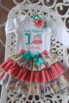 Owl Birthday Outfit Baby/Toddler/Girls Ruffle by RuffleDarlings