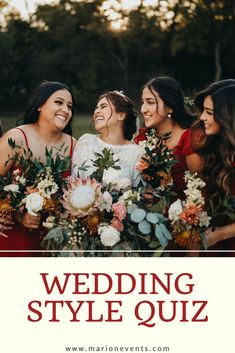 Such an important part of wedding planning is finding the perfect style for your special day! We want to help you narrow those style choices down. Maybe a boho or romantic style? Maybe a neutral color palette or one full of golden colors? Wedding flowers that are full of blooms or maybe more greenery focused? Take this quiz to help you find the perfect, unique style for you! #marionmatrimonyevents #bohowedding #weddingplanning #stylequiz #weddingstyle Nontraditional Wedding Ceremony, Romantic Wedding Flowers, Romantic Wedding Inspiration, Wedding Ceremony Flowers, Boho Wedding, Wedding Colors, Wedding Tips, Wedding Couples, Wedding Styles