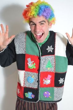 Just clowning around with Ugly Christmas Sweaters!