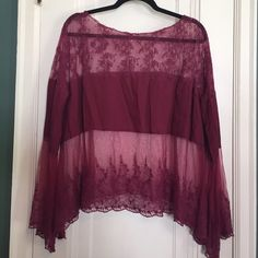 Free People sheer top Merlot colored sheer embroidered top. Oversized with bell sleeves. Perfect condition. No trades, no PP, no holds Please make a *reasonable* offer! ✅Great deals on bundles!✅ Free People Tops