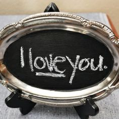 Cute chalkboard w/ an old tray and black paint!