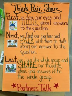 Think, Pair, Share Expectations Anchor Chart for partner talk. Teaching Strategies, Teaching Tips, Teaching Reading, Siop Strategies, Glad Strategies, Thinking Strategies, Think Pair Share, Kindergarten Anchor Charts, Reading Anchor Charts
