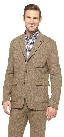 $34, Brown Wool Blazer: Jachs Manufacturing Co Jachs 3 Button Herringbone Blazer  Brown. Sold by Target. Click for more info: https://lookastic.com/men/shop_items/288690/redirect