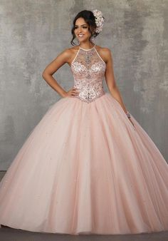 57df96f8d39 Beaded Halter Quinceanera Dress by Mori Lee Valencia 60038 – ABC Fashion
