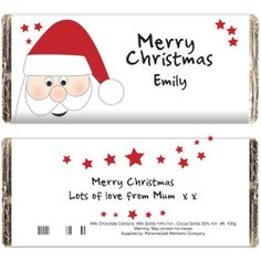 Personalised Chocolate Bar - Santa Design  from Personalised Gifts Shop - ONLY £5.99