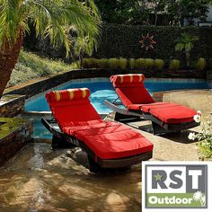Use these stylish patio lounge chairs on your patio, deck, or by the pool. The two contoured chaises recline so you can nap or sunbathe, and the vibrant crimson cushions with built-in bolsters will add a pop of color to your outdoor decor.