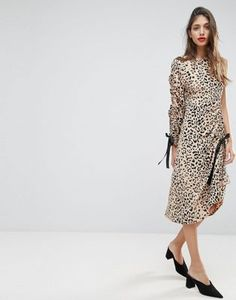ASOS Midi Dress with One Sleeve and Ruched Detail in Animal Print