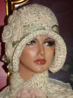 Crochet Flapper Hat  Vintage  style Personalized   Headdress  Crochet Flower  SO #STEVIENICKS #GYPSY!