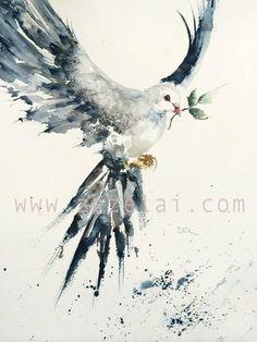 Peace on earth watercolor Art prints Archival prints by zezeart Watercolor Bird, Watercolor Paintings, Painting Art, Watercolors, Watercolor Tattoo, Tatoo Bird, Peace On Earth, Bird Art, Art Photography