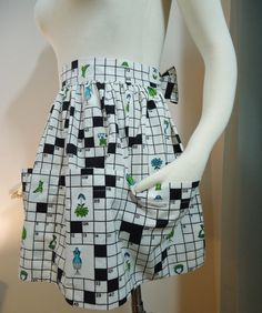 Sweet vintage crossword puzzle apron.