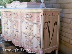 Vintage-Shabby French Provincial Dresser by TraceysFancy, Custom - made to order Pink Furniture, Hand Painted Furniture, Repurposed Furniture, Cool Furniture, Stenciling Furniture, Diy Furniture Projects, Furniture Making, Furniture Makeover, House Projects